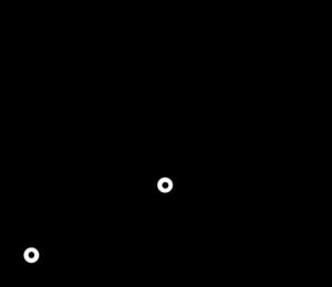 長さl1、l2のリンクと、原点と手先位置を結んだ3つの辺からなる三角形