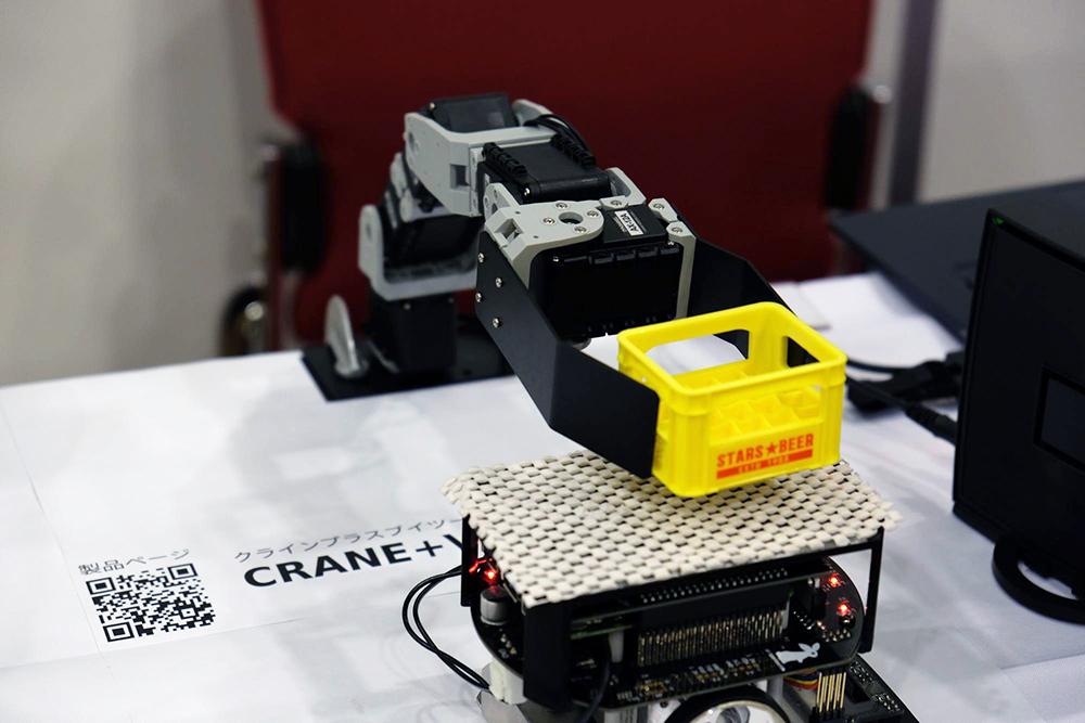 CRANE+V2によるピック&プレース(Raspberry Pi Mouseに箱を乗せる)