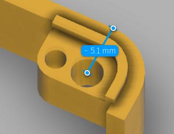 ネジ穴の中心座標が外径から5.1mmの場所になるように開ける