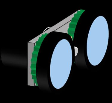 マウンタにモータやギア、タイヤを取り付け、タイヤの間にあるピニオンで両輪を動かす構造