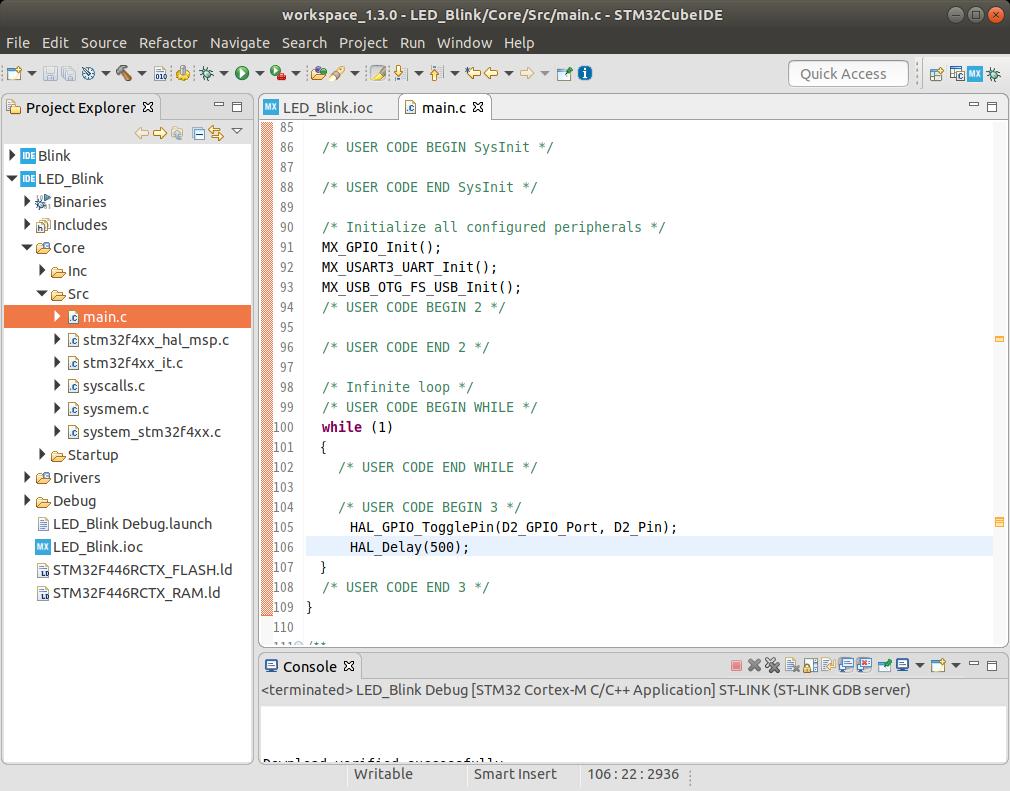D2のLEDを点滅させるプログラムを入力して、コンパイル&ST-LINK経由で書き込み