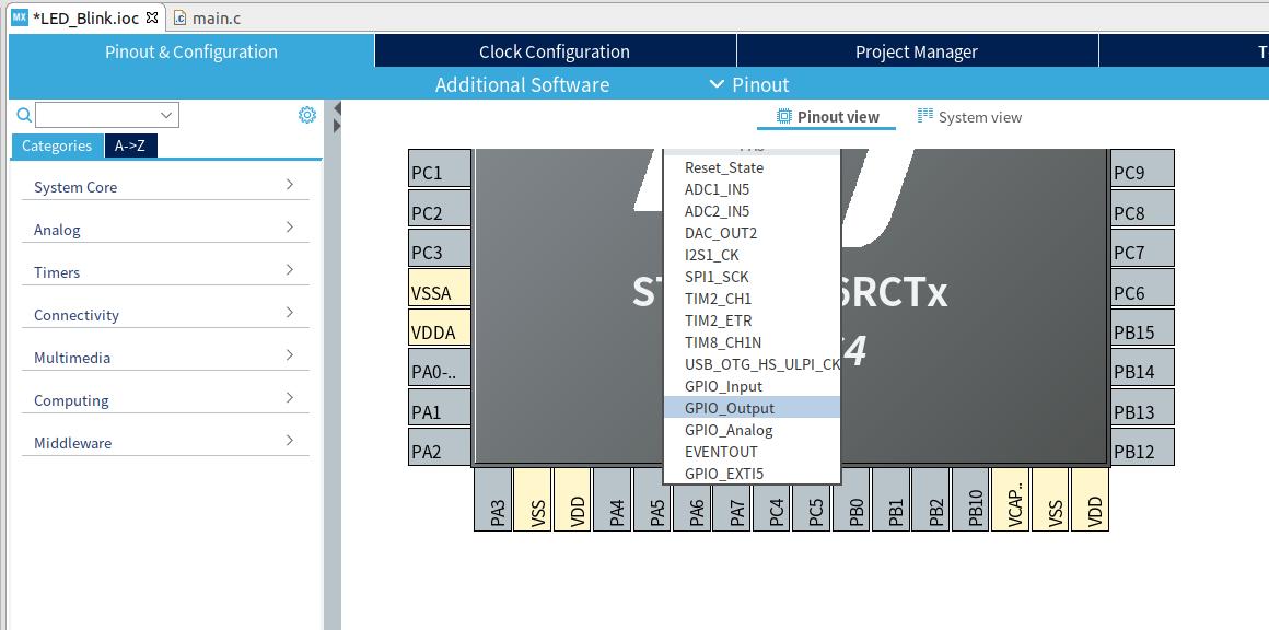 PA5のピン領域で左クリック、GPIO_Outputを選択