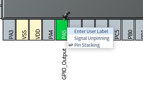 PA5の場所で右クリック、Enter User Laberを選択