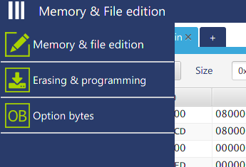 Erasing & programmingのアイコンをクリック