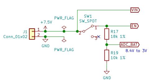 電源スイッチとバッテリー電圧監視
