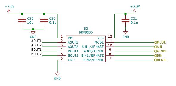 図2. モータドライバDRV8835周辺の回路