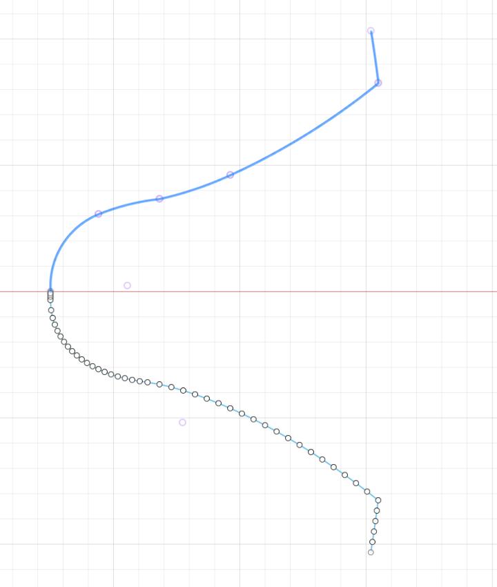 何点か代表点を選んで歯形を近似する曲線を作成
