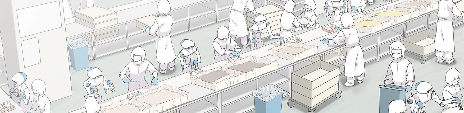 人型協働ロボットFoodlyが人間と共に働く姿